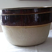 Antique Earthenware Stoneware Cook Rite Cookin Ware Baking Bowl Two In One, Baked Beans and a 