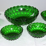 Vintage Anchor Hocking 7 Pc Hobnail Dark Green Glass Berry Set