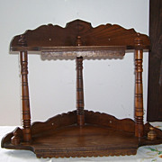 Antique Hanging Oak Corner Wood Arts And Craft Fancy Shelf Art Deco Era