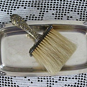 Antique Edwardian Vanity Whisk Broom with Fancy Silver Plate Tray Horse Hair Bristles