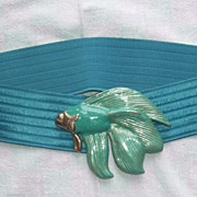 Vintage Ladies Aqua Stretch Cinch Belt with Swimming Fish Buckle
