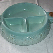 Vintage Hankscraft Aqua Pottery Divided Child's Feeding Dish