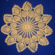 Large Hand Crocheted Cotton Thread Gold Round Table Top Doily