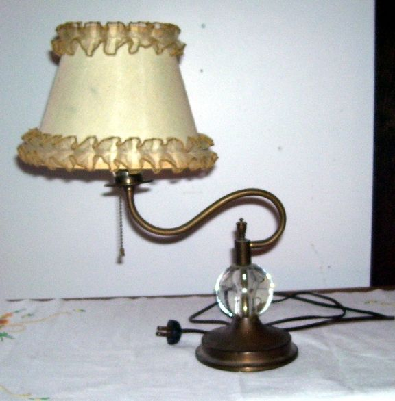 Antique Art Deco Copper and Glass Goose Neck Table Lamp Original Shade