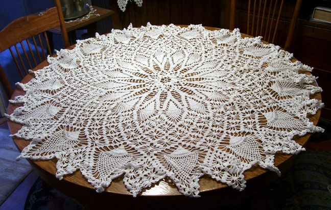 Very Large White Hand Crocheted Round Cotton Doily 44 Inches Across