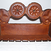 Fancy Carved Wood Circles Maple Leaf Acorn Hanging Wall Spoon Rack Shelf