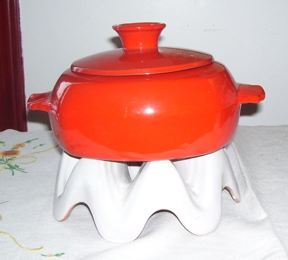 Frankoma Orange and White Fondue Pottery Warming Dish with Stand