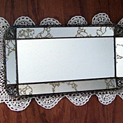 Art Deco Fancy Gold Scroll Hang Up Mirror Vanity Tray