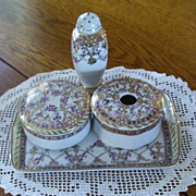 SOLD Stunning Porcelain 4 Piece Nippon, Hand Painted Tray, Hat Pin Holder, Powder Jar, Hair Re