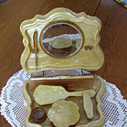 SOLD Antique Lucite Butterscotch Covered Vanity Set, Button Hook Mirror, Brush, Comb, Powder J