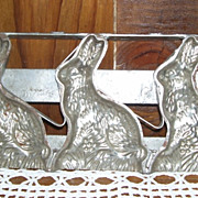 Antique Metal 3 Rabbits Chocolate Mold Wall Hanging