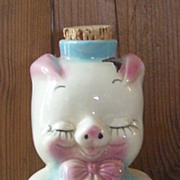 Art Pottery Hull Leeds Porky Pig Liquor Decanter Bottle Original Cork