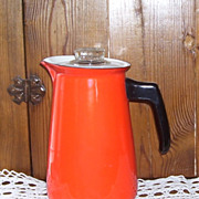 Vintage Farm House Orange Enamel Over Metal Percolator Coffee Pot