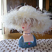 Kentucky Derby Fancy White Ladies Hat with Feathers Kathy Jeanne, Jeanne Marie Studios