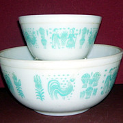 Two Vintage Pyrex Butterprint Cinderella Bowls, Large and Small