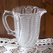 Beautiful Molded Pressed Glass Pitcher Swirls Pattern