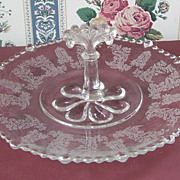 Stunning Fostoria Etched Round Dessert Plate