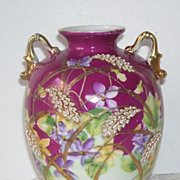 Spectacular Hand Painted  Cloisonne Handle Gold Trim Vase