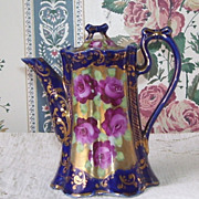 Beautiful Cobalt Blue Hand Painted Gold Trim  Tea Pot  Pitcher