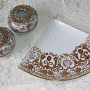 SOLD Beautiful 3 Pc Vanity Tray, Hair Receivers . Moriage Hand Painted Nippon Morimura Bros