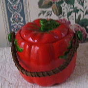 Red Tomato Occupied Japan Cracker or Biscuit Jar