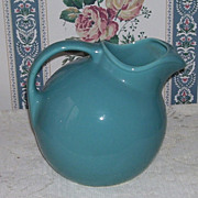 Turquoise Homer Laughlin Harlequin Ball Jug Pottery Pitcher