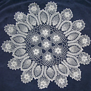 Vintage White Hand Crocheted Round Lace Doily Parlor Table Perfect