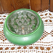 Vintage Round Green Glass Bowl with Flower Frog
