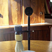 Antique Man's Stand Up Shaving Stand with Horse Hair Brush