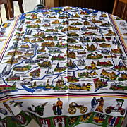 German Cities Linen Souvenir Tablecloth 1972