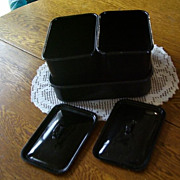 Vintage Black Enamel Ware Metal Refrigerator Left Overs Pans with Covers