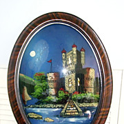 ON The Danube River  Castle Reverse Painting Oval Frame Convex Glass