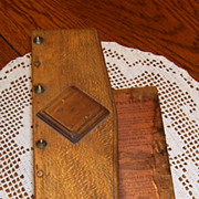 Antique Wood Paper File Binder with Original Instructions, Hinges