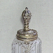 Rare Pressed Glass Victorian Glue Bottle with Metal Top