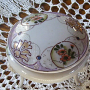 Hand Painted 3 Footed Porcelain Jewelry Tidbit Receiver Floral Pattern