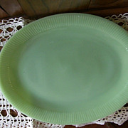 Fire King Jadite Jadeite Jane Ray Large Glass Serving Platter 9 x 12 inches