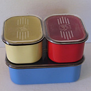 3 Pc. Beco Ware Refrigerator Dishes, Red,, Blue, Yellow Enamel over Metal with Plastic Tops