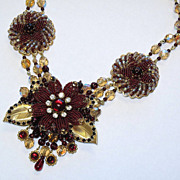 Artisan Seed Beaded Floral Flower Red Smoked Topaz Collage Necklace By Inna Victoria (Custom)
