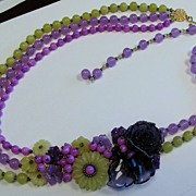 SOLD Amethyst Lemon and Purple Dyed Jade Flower Gemstone Necklace By Zhanna Kotova
