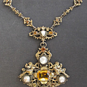 SOLD Antique Austro Hungarian Silver Gilt Cherubs Birds Pearls and Citrine Necklace