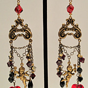 Chandelier Earrings Cupid Heart Swarovski Garnet, Jet Black, Gold Dorado Victorian Style, Vale