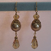 Swarovski Crystal Pearls Russian Gold Plated Components Earrings