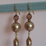 SALE Swarovski Crystal Pearls Russian Gold Plated Components Earrings