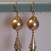 SOLD Earrings: Swarovski Crystal Pearls, Swarovski Modern Crystals, Natural Pearls, Russian Go