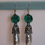 SOLD Earrings: Vintage Haskell Glass Baroque Pearl drops, Swarovski Emerald crystals,  Sterlin