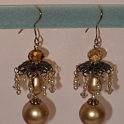 SALE Swarovski Crystal Pearls, Swarovski Crystals, Natural Pearls, Chandelier Pagoda earrings