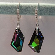 Earrings: STUNNING Swarovski De Art Crystal in Custom Crystal Sphinx coating, Sterling Silver,