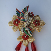 SOLD Signed Stanley Hagler FABULOUS Beaded Flower Hummingbird Baroque Pearls Brooch (Set)