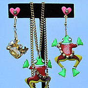 Lunch at The Ritz Petit Dejeuner Frog Prince EARRINGS + Necklace SET