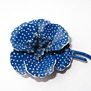 Vintage Blue White Polka Dot Enameled Metal Flower Brooch